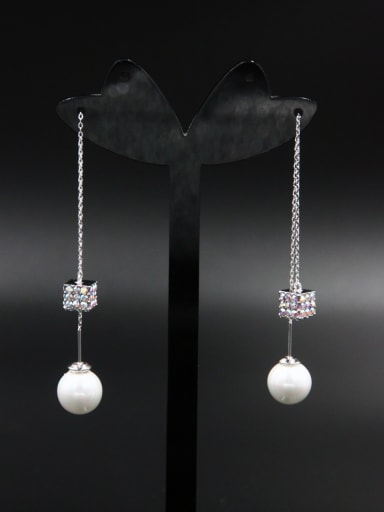 The new Platinum Plated Pearl Square Drop drop Earring with White