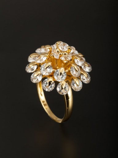 Blacksmith Made Gold Plated Copper Zircon Flower Ring