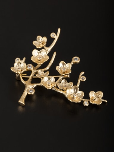 Gold Plated Flower White Zircon Beautiful Lapel Pins & Brooche