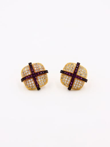 Square style with Gold Plated Copper Zircon Studs stud Earring