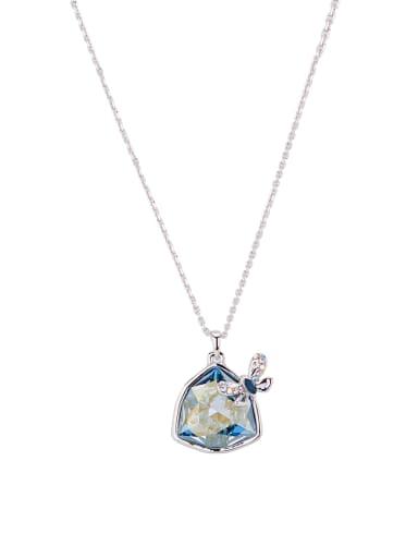 Blacksmith Made Platinum Plated Zinc Alloy Swarovski Crystals Heart Necklac