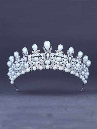 A Platinum Plated Stylish Pearl Wedding Crown Of