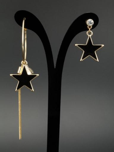 Black color Gold Plated Star Rhinestone Drop drop Earring