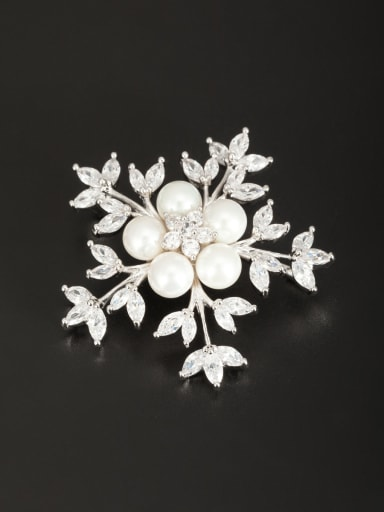 Blacksmith Made Platinum Plated Pearl Flower Lapel Pins & Brooche