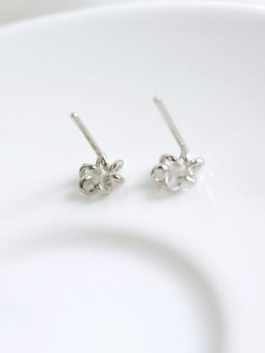 Flower style with Silver-Plated 925 Silver Studs stud Earring