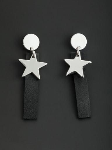 Model No L0607056-002 New design Platinum Plated Star Drop drop Earring in Black color