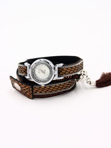 Model No A0000435W-002 Fashion Yellow Alloy Quartz Round Faux Leather Women's Watch 24-27.5mm