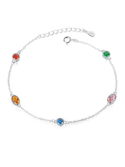 925 Sterling Silver With Crystal Simplistic Round Bracelets