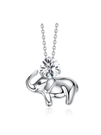 4a08c65f3 Simple Little Elephant Cubic Swarovski Crystal 925 Silver Necklace - ToMade