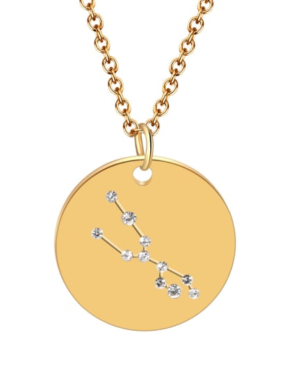 Titanium With Rhinestone  Simplistic 12 constellations  Round Pendant Necklaces