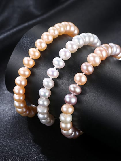 Pure silver 7-8mm natural freshwater pearl bracelet