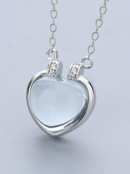 simple opal stone heart pendant 925 silver necklace