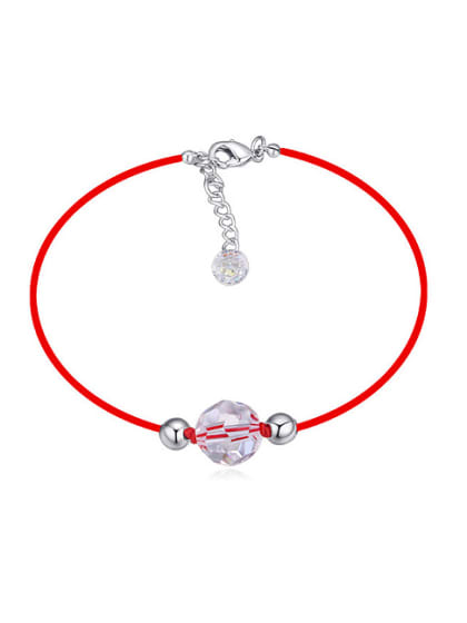Simple White Swarovski Crystal Beads Red Rope Bracelet - ToMade b6c61be57