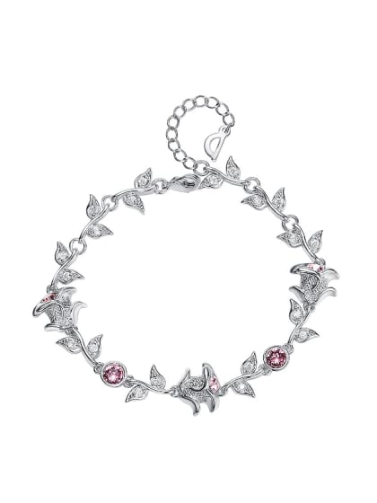 fc8968c8f842d Fashion Roses Leaves Pink Swarovski Crystals Bracelet
