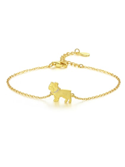 Sterling silver cute puppy bracelet