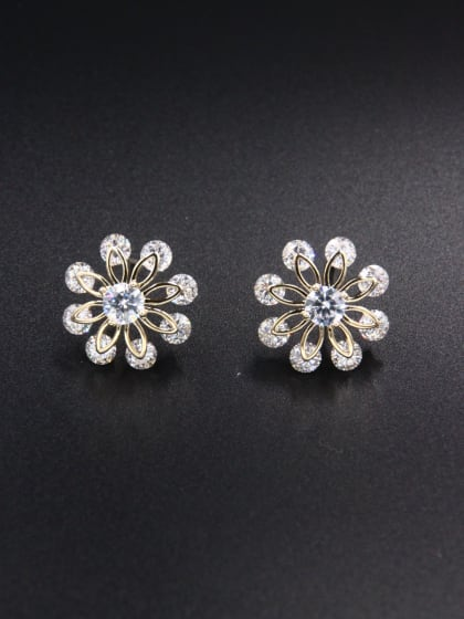 78b76f757 Model No NY37973-002 New design Gold Plated Flower Zircon Studs stud Earring  in White color - ToMade