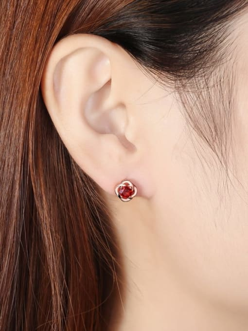 One Next 925 Sterling Silver With 5mm Round Natural Garnet Rosary Stud Earrings