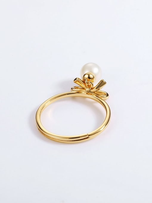 One Next 925 Sterling Silver With Freshwater Pearl Cute Bowknot Free size Ring