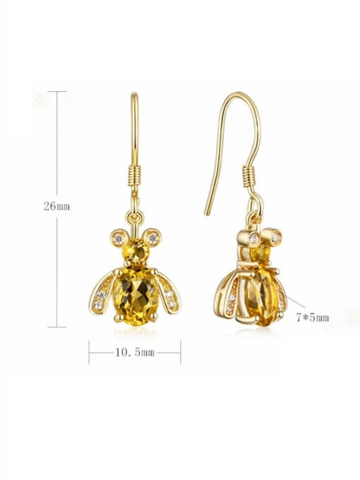 One Next 925 Sterling Silver With 5*7mm Citrine Cute Bee Hook Earrings