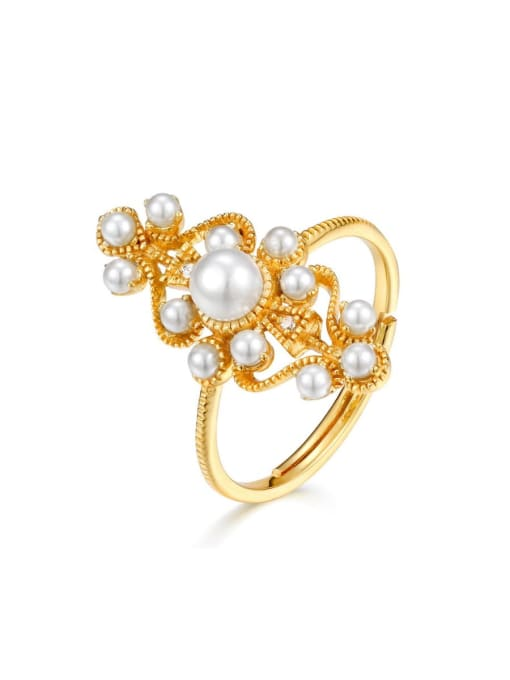 One Next 925 Sterling Silver With Artificial Pearl Vintage Statement Ring