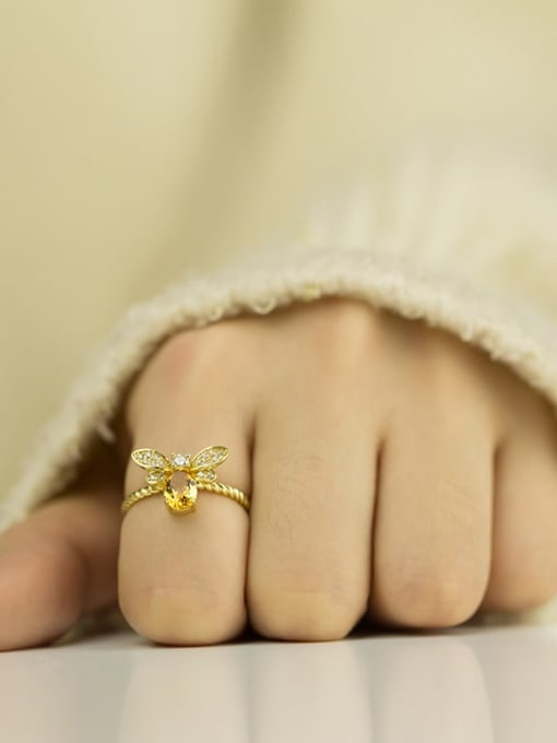One Next 925 Sterling Silver With 5*7mm Citrine Cute Bee free size Ring