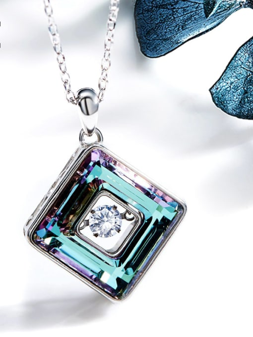 One Next 925 Sterling Silver , Swarovski Crystallized Elements geometry ,Dancing stone Necklaces