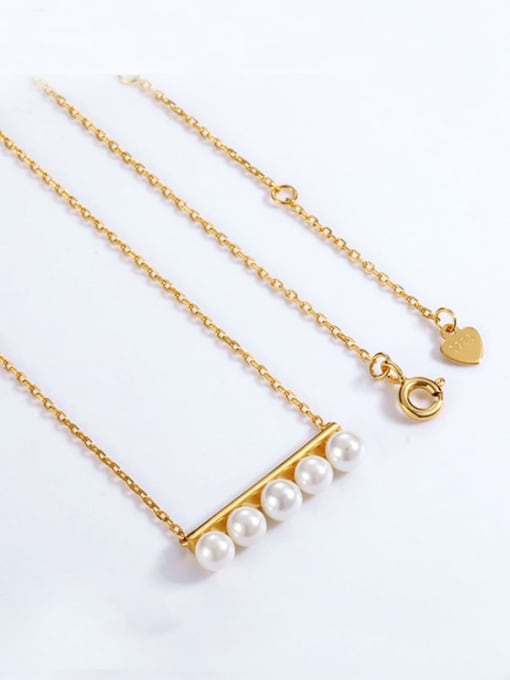 One Next 925 Silver With Gold Plated Synthetic pearl Necklaces
