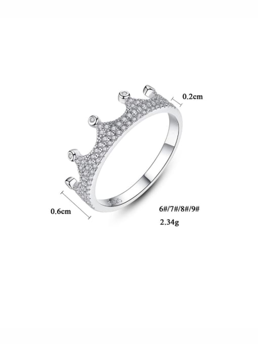 One Next 925 Sterling Silver With Cubic Zirconia Delicate Crown Ring