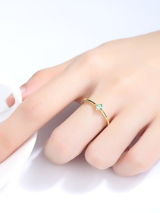 One Next 925 Sterling Silver With Cubic Zirconia Delicate Square Solitaire Ring
