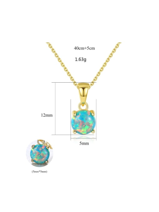 One Next 925 Sterling Silver With Opal Simplistic Round Necklaces