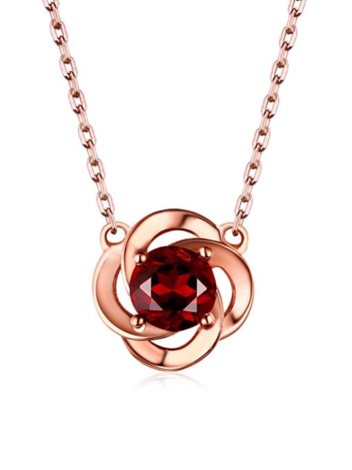 One Next 925 Sterling Silver With 5mm round natural Garnet Delicate Necklaces