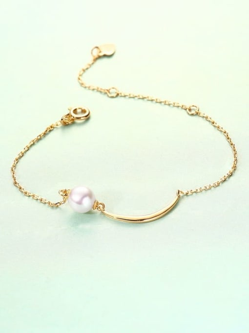 One Next 925 Sterling Silver With Gold Plated Delicate Freshwater Pearl Moon Bracelet