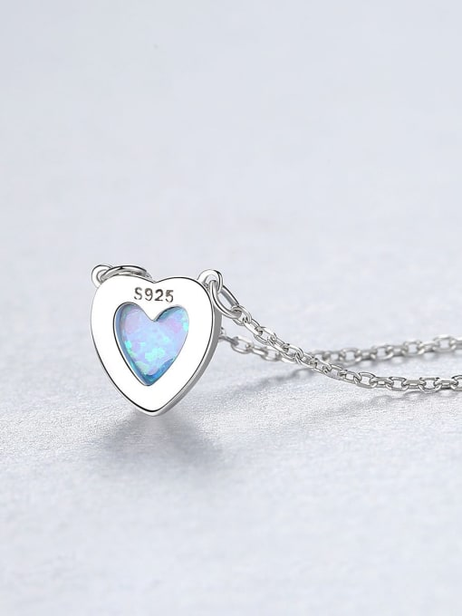 One Next 925 Sterling Silver With Opal Classic Heart Locket Necklace