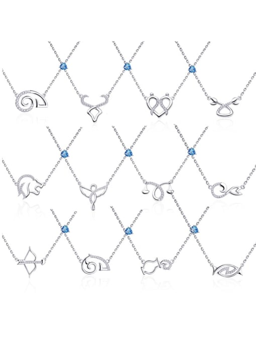 One Next 925 Sterling Silver With Topaz 12 Constellation Necklaces