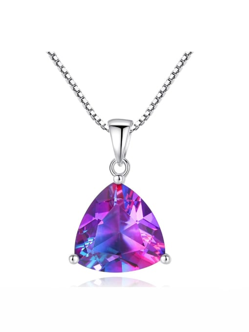 One Next 925 Sterling Silver With mystic topaz Triangle Necklace