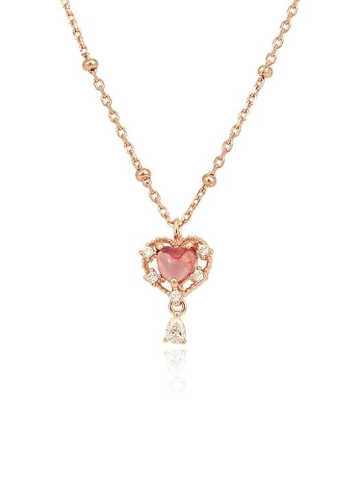 One Next 925 Sterling Silver With Rose Gold Plated Luxury Heart Necklaces