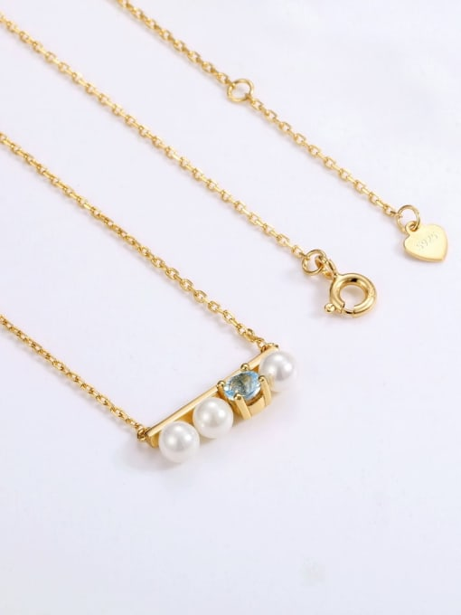 One Next 925 Sterling Silver With Gold Plated Delicate Topaz+Artificial pearl Necklaces