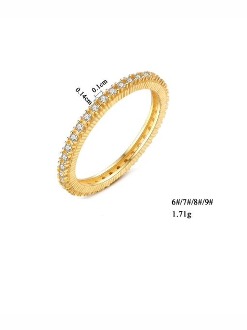 One Next 925 Sterling Silver With Gold Plated Simplistic Band Ring