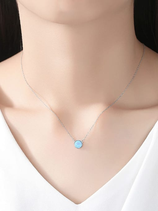 One Next 925 Sterling Silver With Opal Simplistic Round Necklace