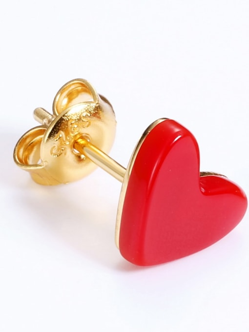 One Next 925 Silver Classic red Heart Stud Earring