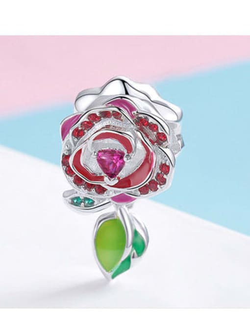Maja 925 Silver Romantic Red Rose charm