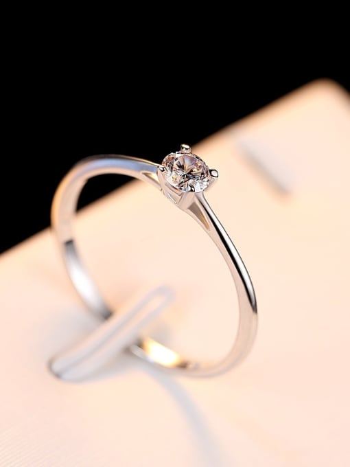 One Next 925 Sterling Silver With 4mm Cubic Zirconia Delicate Round Solitaire Ring
