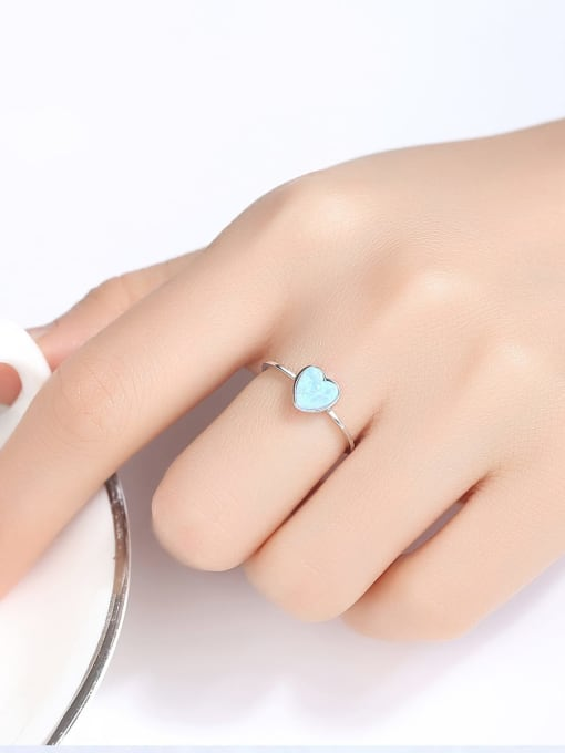 One Next 925 Sterling Silver With Opal Delicate Heart Solitaire Ring