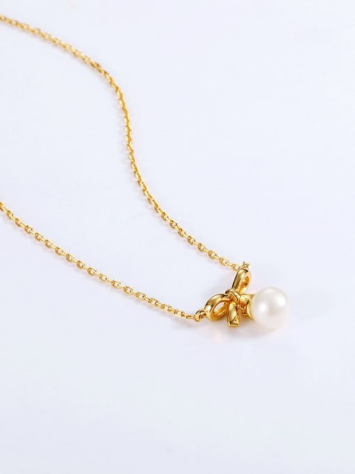 One Next 925 Sterling Silver With Freshwater Pearl Cute Bowknot Necklaces