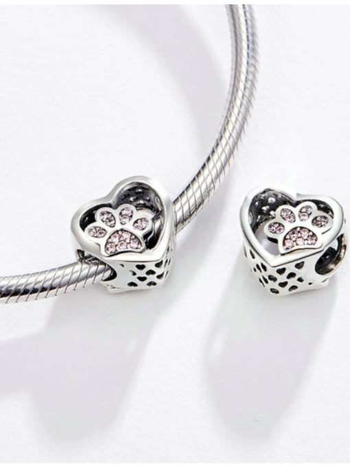 Maja 925 silver cute pet footprints charm