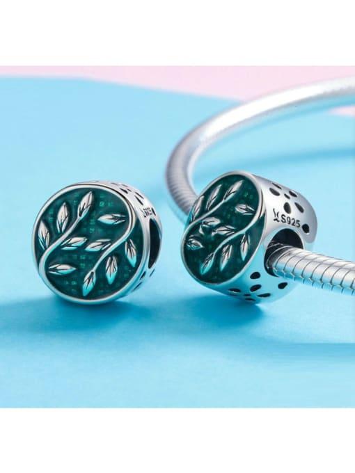 Maja 925 silver green leaf charm