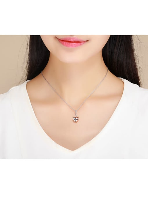 Maja 925 silver artificial zircon heart-shaped charm