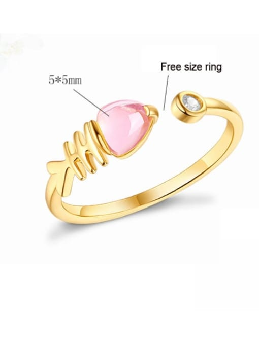 One Next 925 Sterling Silver With Gold Plated Cute Fish Raw Crystal Solitaire Rings
