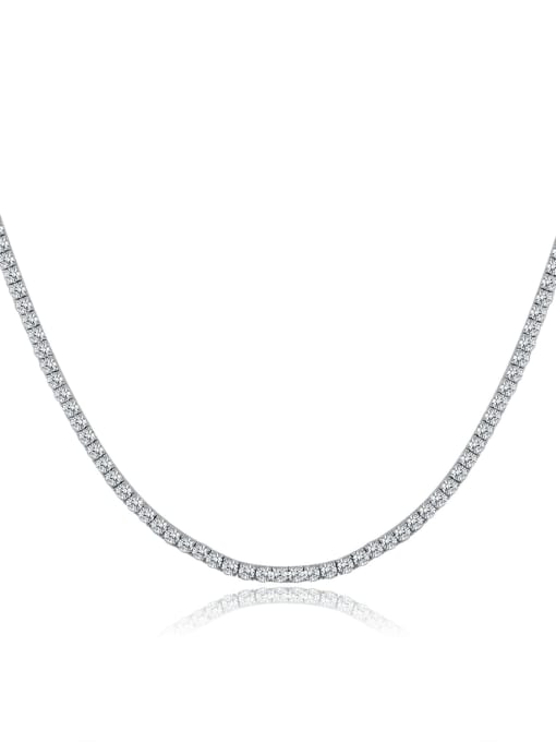 One Next AAA+Cubic Zircon 3.0mm,White,Tennis necklaces,Platinum-plated,Four-claw inlay