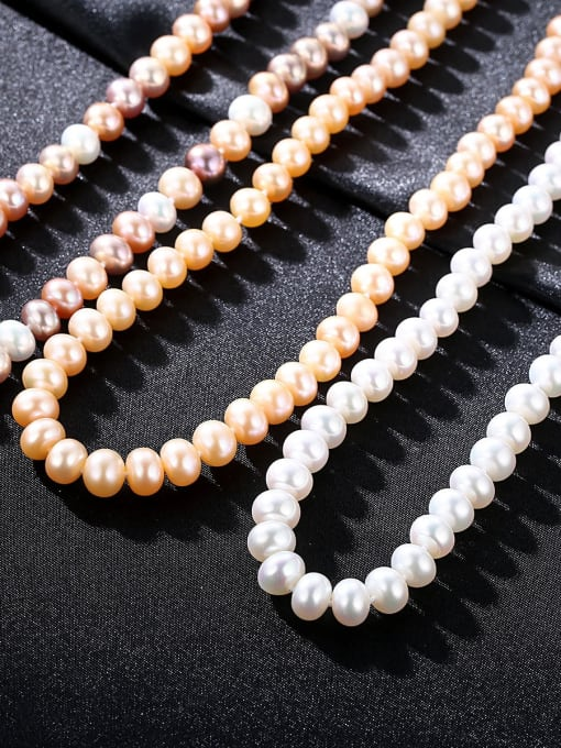 One Next 925 Sterling Silver With Freshwater Pearl Oval Beaded Necklaces